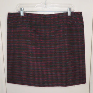 Loft Straight Skirt Size Black with Berry-colored